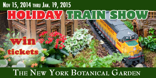 Win a 4 pack of tickets to the 2014 holiday train show at the nybg for New york botanical gardens train show